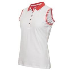 Green Lamb Ellen Club Sleeveless Polo - White / Strawberry