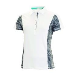 Green Lamb Fleur Polo Shirt with printed panels White-Grey