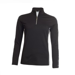 Green Lamb Ladies Remy Half Zip Side Panel Top Black / White