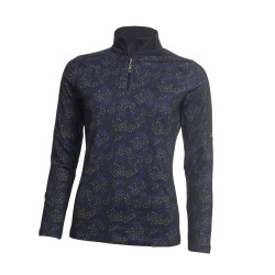 Green Lamb Ladies Rena Half Zip Printed  Top Navy