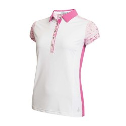 Green Lamb Eileen Printed Sleeve Polo White Orchid